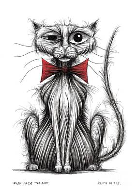 Moggy Drawing - Fish Face The Cat by Keith Mills