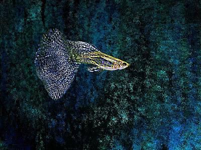 Sea Digital Art - Fish In Blue Pointillism by Mario Perez
