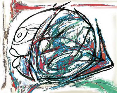 Charcoal Mixed Media - Fish Morden Art Drawing Painting by Kim Wang