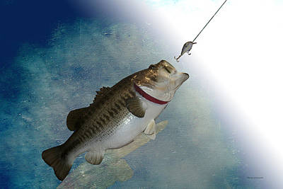 Large Mouth Bass Digital Art - Fish On by Thomas Woolworth