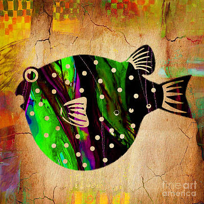 Fish Paintings Print by Marvin Blaine