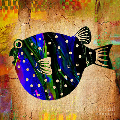 Color Mixed Media - Fish Plaque by Marvin Blaine