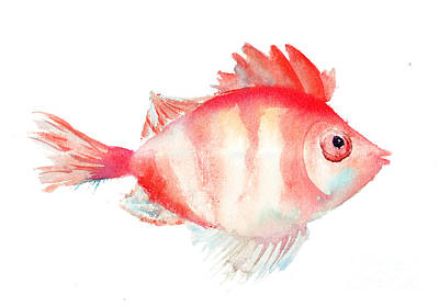 Cartoon Animals Painting - Fish by Regina Jershova