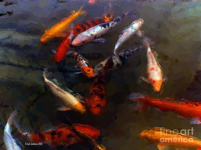 Koi Digital Art - Fish Tank Watercolor by Fred Jinkins
