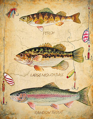 Smallmouth Bass Painting - Fish Trio-b by Jean Plout