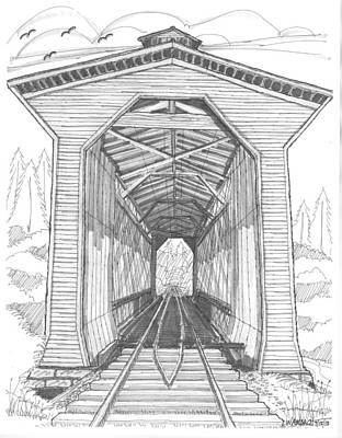 Historic Site Drawing - Fisher Railroad Covered Bridge by Richard Wambach