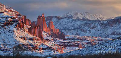 Fisher Towers Sunset Panorama Print by Adam Jewell