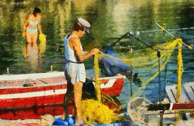 Man Painting - Fisherman In Kea Island by George Atsametakis