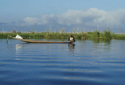 Fisherman On The Inle Lake Print by Maria Heyens