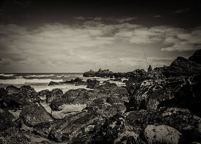 Angling Photograph - Fisherman On The Rocks by Marco Oliveira