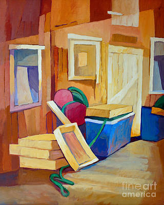 Boathouses Painting - Fishermans Boathouse by Lutz Baar