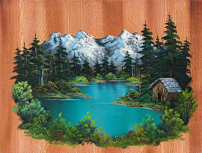 Bob Ross Style Painting - Fisherman's Cabin by C Steele