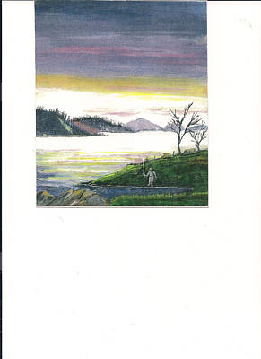 Fisherman's Dream Of Mountains And His Little Corner.           Print by June Reynolds