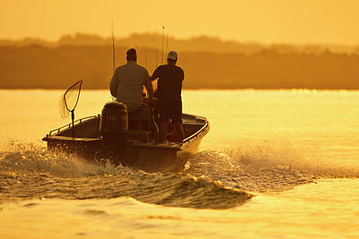 Fishermen Boating Toward The Laguna Print by Larry Ditto
