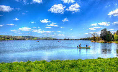 Blagdon Photograph - Fishermen On Blagdon Lake Somerset England by Michael Charles