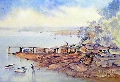 Fishing At Lilli Pilli N.s.w. Australia Print by Audrey Russill