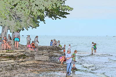 Historic Site Drawing - Fishing At Marblehead by Jim Steinmiller