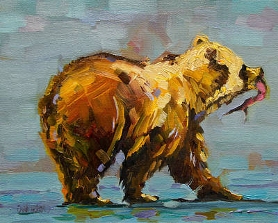 Painting - Fishing Bear by Diane Whitehead