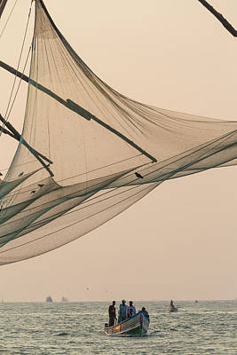Fishing Boat And Chinese Fishing Nets Print by Peter Adams