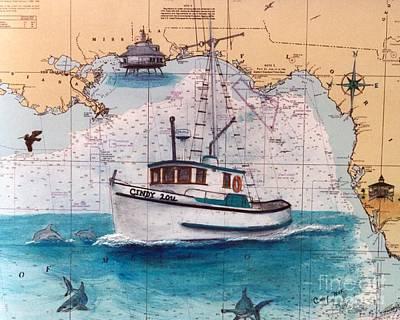 Fishing Boat Cindy Lou Fl Chart Map Art Cathy Peek Print by Cathy Peek
