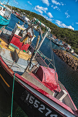 Maddox Photograph - Fishing Boat In Petty Harbour by Perla Copernik