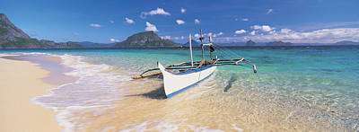 Philippines Photograph - Fishing Boat Moored On The Beach by Panoramic Images
