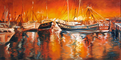 Fishing Boats At Dusk Print by Marcia Baldwin