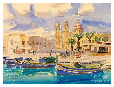 Marsaxlokk Painting - Fishing Boats At Marsaxlokk by Godwin Cassar