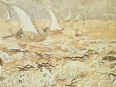 Fishing Boats At Saintes Maries De La Mer Print by Vincent van Gogh