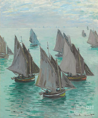Harbor Painting - Fishing Boats Calm Sea by Claude Monet