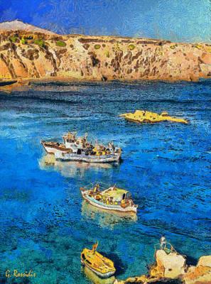 Bridge Painting - Fishing Boats by George Rossidis