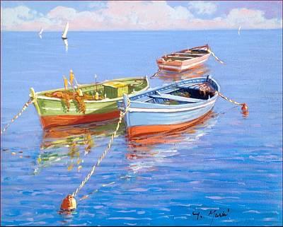 Fishing Boats -mediterranean Sea Original by Gino Masini