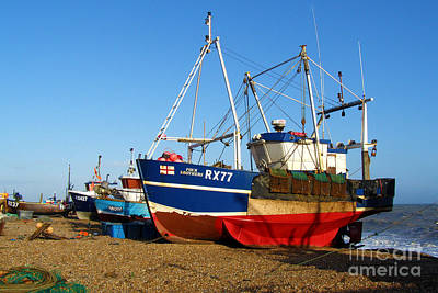 Fishing Boats On Hastings Stade Print by Terri Waters