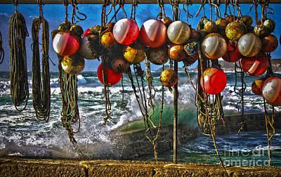 Fishing Buoys Print by Terri Waters