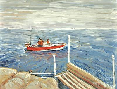 Motor Boats Painting - Fishing Day On Georgian Bay by Reb Frost