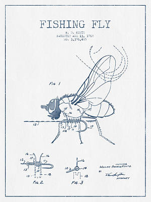 Fishing Fly Patent Drawing From 1968 - Blue Ink Print by Aged Pixel