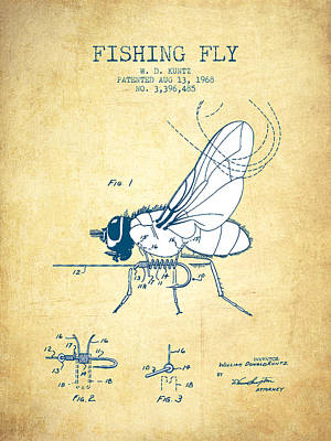 Fishing Fly Patent Drawing From 1968 - Vintage Paper Print by Aged Pixel