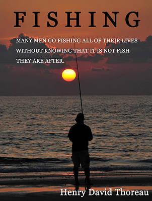 Fishing Henry David Thoreau Print by David Lee Thompson