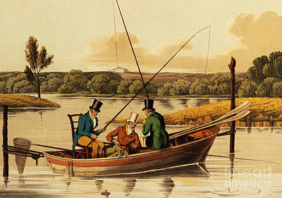 Fishing In A Punt Print by Henry Thomas Alken