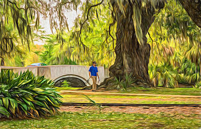 Oak Photograph - Fishing In City Park New Orleans  by Steve Harrington