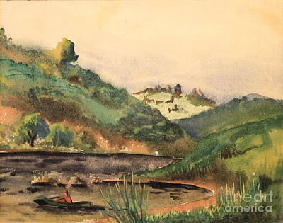 Blueridge Mountain Art Painting - Fishing In The Blueridge - 1939 by Art By Tolpo Collection