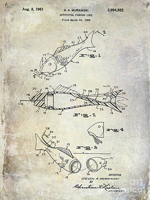 Largemouth Bass Photograph - Fishing Lure Patent 1959 by Jon Neidert