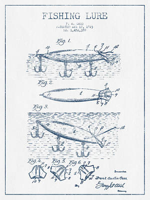 Fishing Lure Patent Drawing From 1923 - Blue Ink Print by Aged Pixel