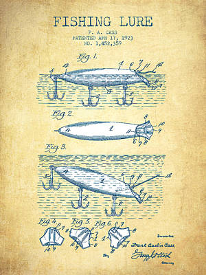 Fishing Lure Patent Drawing From 1923 - Vintage Paper Print by Aged Pixel