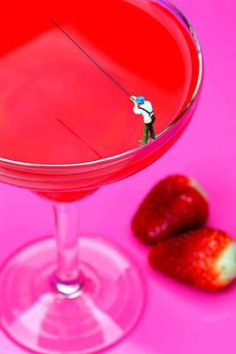 Strawberries Digital Art - Fishing On A Red Cocktail Drink Little People On Food by Paul Ge