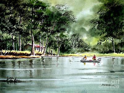 Fishing On Lazy Days - Aucilla River Florida Print by Bill Holkham