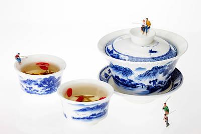 Fishing On Tea Cups Little People On Food Series Original by Paul Ge