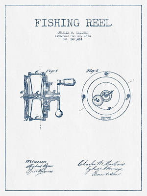 Fishing Reel Patent From 1874 - Blue Ink Print by Aged Pixel