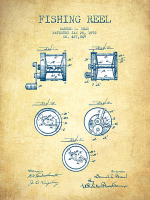 Reeling Digital Art - Fishing Reel Patent From 1892 - Vintage Paper by Aged Pixel