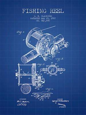 Reeling Digital Art - Fishing Reel Patent From 1907 - Blueprint by Aged Pixel